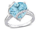 9.00 Carat (ctw) Sky-Blue Topaz Promise Heart Ring in Sterling Silver with Accent Diamonds