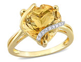 6.50 Carat (ctw) Citrine Promise Heart Ring in Plated Sterling Silver with Accent Diamonds