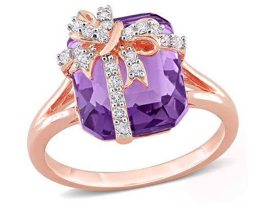 6.50 Carat (ctw) Amethyst and White Topaz Bow Ring in Rose Plated Sterling Silver