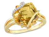 6.00 Carat (ctw) Citrine Ring in Yellow Plated Sterling Silver with Accent Diamonds