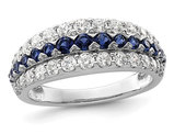 2/3 Carat (ctw) Lab-Created Sapphire Ring Band in 14K White Gold with Lab-Grown Diamonds 9/10 Carat (ctw)