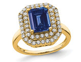 2.50 Carat (ctw) Lab-Created Blue Sapphire Engagement Ring in 14K Yellow Gold with Lab Grown Diamonds