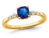 1/2 Carat (ctw) Natural Blue Sapphire Ring in 14K Yellow Gold with Diamonds