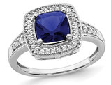 1.30 Carat (ctw) Lab-Created Blue Sapphire Ring in 14K White Gold with Diamonds