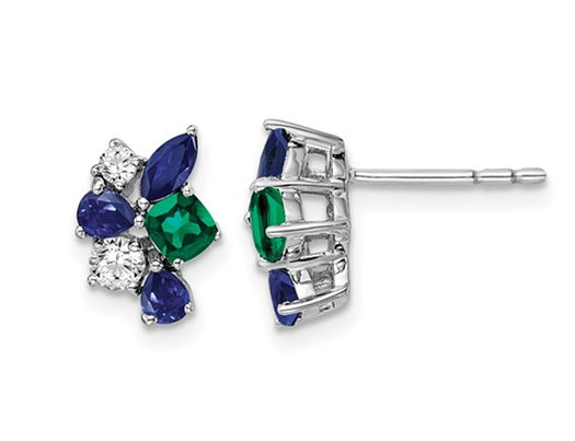 9/10 Carat (ctw) Lab-Created Blue Sapphire and Emerald Cluster Earrings in 14K White Gold with Lab-Grown Diamonds