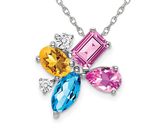 2.14 Carat (ctw) Lab-Created Pink Sapphire, Blue Topaz and Citrine Pendant Necklace in 14K White Gold with Chain