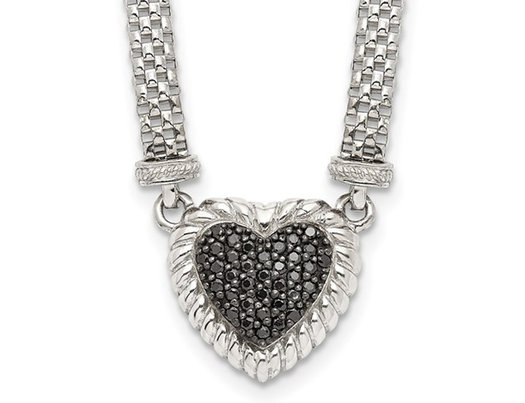 2/5 Carat (ctw) Black Sapphire Heart Pendant Necklace in Sterling Silver with Mesh Chain