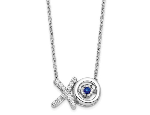 1/4 Carat (ctw) Diamond (ctw) XO Pendant Necklace in 14K White Gold with Blue Sapphire and Chain