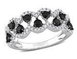 1.00 Carat (ctw) Black & White Diamond Ring Band in 10k White Gold