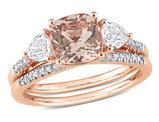 1.65 Carat (ctw) Morganite Bridal Wedding Ring Set in 10K Rose Pink Gold with White Sapphires