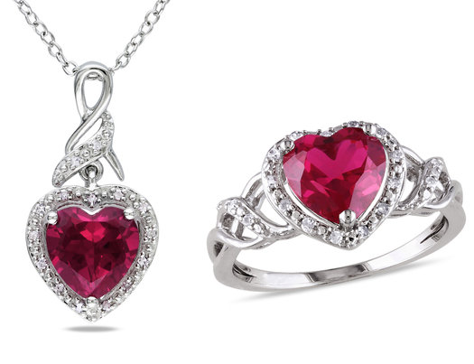 4.50 Carat (ctw) Lab-Created Ruby Heart Ring and Matching Pendant in Sterling Silver