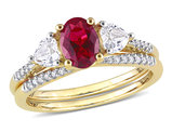 1.90 Carat (ctw) Lab-Created Ruby and White Sapphire Bridal Engagement Wedding Ring Set 10K Yellow Gold