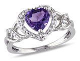 6.50 Carat (ctw) Amethyst Promise Heart Ring in Rose Plated Sterling Silver with Accent Diamonds