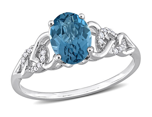 1 5/8 Carat (ctw) London Blue Topaz Ring in 10K White Gold with Diamonds