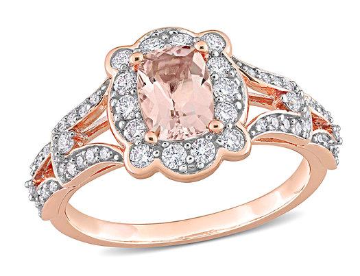 4/5 Carat (ctw) Morganite Ring in 10K Rose Gold with Diamonds