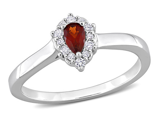 1/4 Carat (ctw) Garnet Drop Ring in Sterling Silver with Halo Diamonds