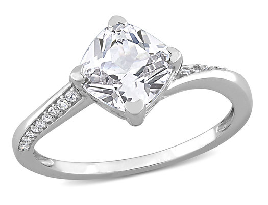 2.00 Carat (ctw) Lab-Created White Sapphire Ring in 10K White Gold