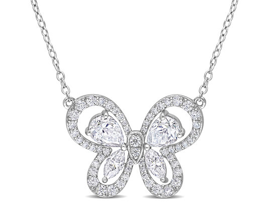 1.75 Carat (ctw) Lab-Created Moissanite Butterfly Pendant Necklace in Sterling Silver with Chain
