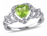 1.30 Carat (ctw) Peridot Heart Promise Ring in Sterling Silver with Accent Diamonds