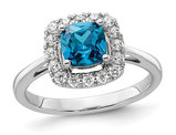 9/10 Carat (ctw) Blue Topaz Ring in 14K White Gold with Lab-Grown Diamonds 1/4 Carat (ctw)