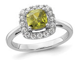 1.00 Carat (ctw) Peridot Ring in 14K White Gold with Lab-Grown Diamonds 1/4 Carat (ctw)