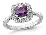 9/10 Carat (ctw) Amethyst Ring in 14K White Gold with Lab-Grown Diamonds 1/4 Carat (ctw)
