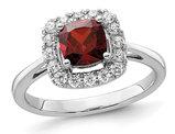 1.25 Carat (ctw) Garnet Ring in 14K White Gold with Lab-Grown Diamonds 1/4 Carat (ctw)