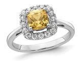 9/10 Carat (ctw) Citrine Ring in 14K White Gold with Lab-Grown Diamonds 1/4 Carat (ctw)
