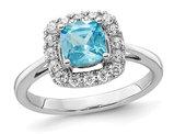 1.00 Carat (ctw) Aquamarine Ring in 14K White Gold with Lab-Grown Diamonds 1/4 Carat (ctw)