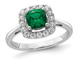 4/5 Carat (ctw) Lab-Created Emerald Ring in 14K White Gold with Lab-Grown Diamonds 1/4 Carat (ctw)