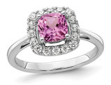 1.20 Carat (ctw) Lab-Created Pink Sapphire Ring in 14K White Gold with Lab-Grown Diamonds 1/4 Carat (ctw)