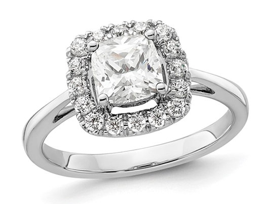 1.20 Carat (ctw) Lab-Created White Sapphire Ring in 14K White Gold with Lab-Grown Diamonds 1/4 Carat (ctw)