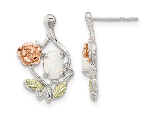 Lab-Created Opal Flower Earrings in Sterling Silver