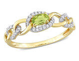 1/4 Carat (ctw) Peridot Link Ring in 10K Yellow Gold with Diamonds
