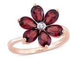 3.00 Carat (ctw) Garnet Flower Ring in 10K Rose Pink Gold