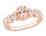 7/8 Carat (ctw) Morganite and White Topaz Ring in Rose Plated Sterling Silver