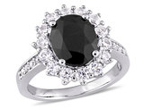 5.00 Carat (ctw) Black Sapphire and Lab-Created White Sapphire Ring in Sterling Silver