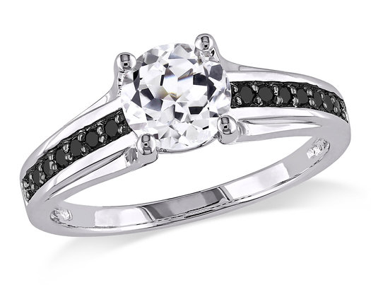1 3/8 Carat (ctw) Lab-Created White Sapphire Ring in Sterling Silver with Black Diamonds 1/7 Carat (ctw)