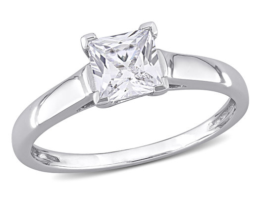 1.05 Carat (ctw) Lab-Created White Sapphire Solitaire Ring in 10K White Gold