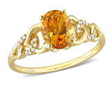 1.10 Carat (ctw) Oval Madeira Citrine Ring in 10K Yellow Gold with Accent Diamonds
