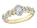 1/3 Carat (ctw G-H-I, I2-I3) Diamond Link Engagement Ring in 10K Yellow Gold