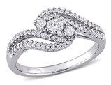 1/2 Carat (ctw H-I, I2-I3) Three-Stone Diamond Engagement Ring in 14K White Gold