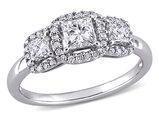 1.00 Carat (ctw H-I, I2-I3) Three-Stone Princess-Cut Diamond Engagement Ring in 10K White Gold
