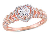 3/5 Carat (ctw) Lab-Created White Sapphire Heart Promise Ring in 10K Rose Pink Gold