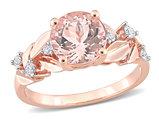 1.75 Carat (ctw) Morganite Floral Ring in 10K Rose Pink Gold with Diamonds