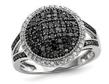 3/5 Carat (ctw) Black Diamond Cluster Ring in Sterling Silver