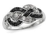 1/5 Carat (ctw) Black and White Diamond Love Knot Ring in Sterling Silver