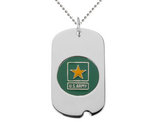 US ARMY Dog Tag Pendant Necklace in Sterling Silver with Chain