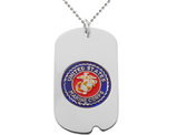 US MARINE CORPS Dog Tag Pendant Necklace in Sterling Silver with Chain
