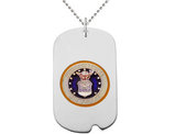 US AIR FORCE Dog Tag Pendant Necklace in Sterling Silver with Chain